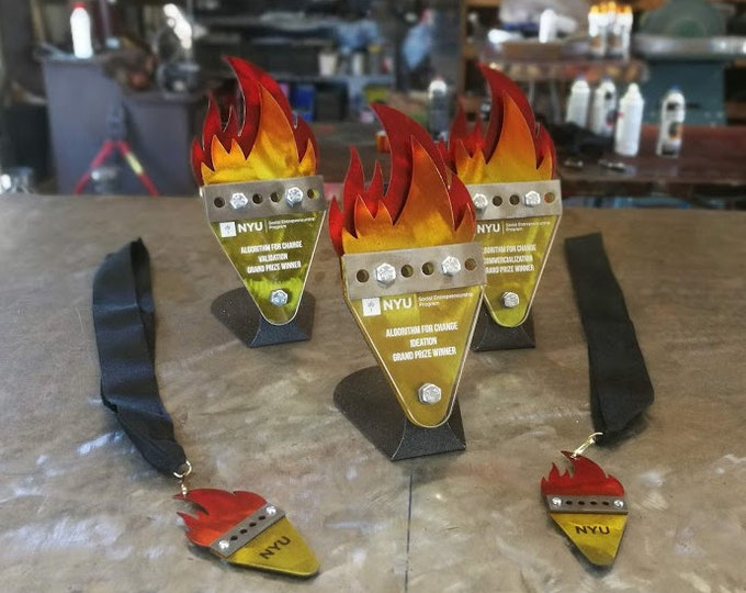 Custom Award Trophies Flame BBQ Design Fire