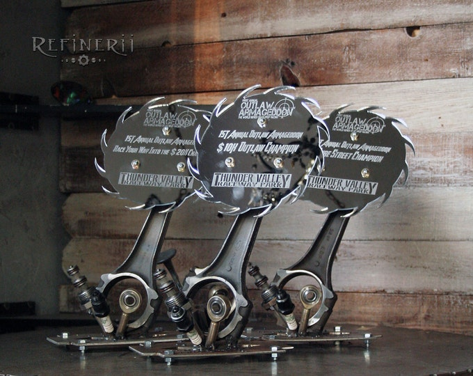 Metal Racing Trophies made from Car Parts