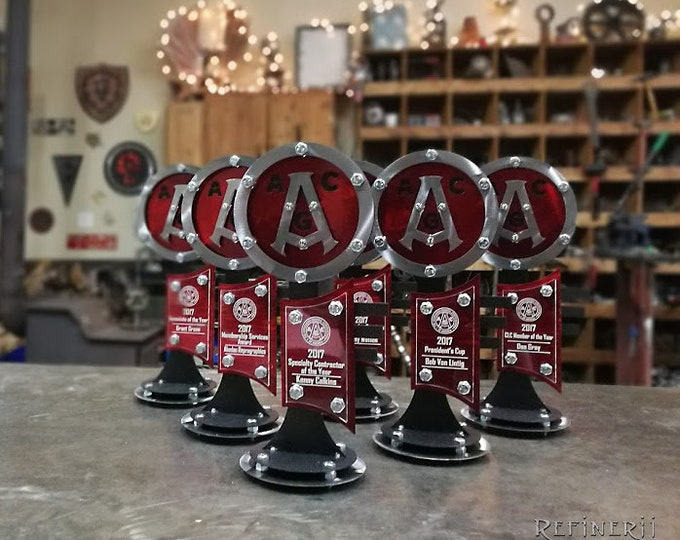 Custom Award Trophy made from Metal Vintage Road Sign Design