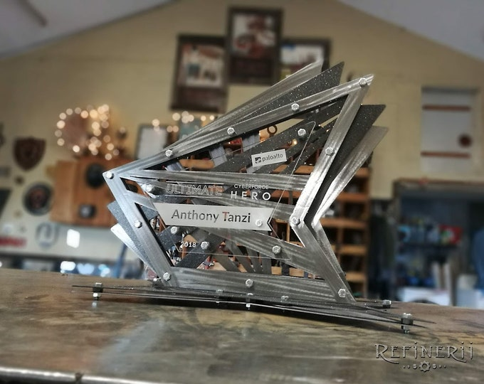 Large Custom Award made from layered Metals with Laser engraved Plaque