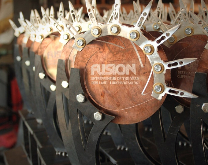 Custom Metal Trophy: Copper & Aluminum Accents with Steel Base