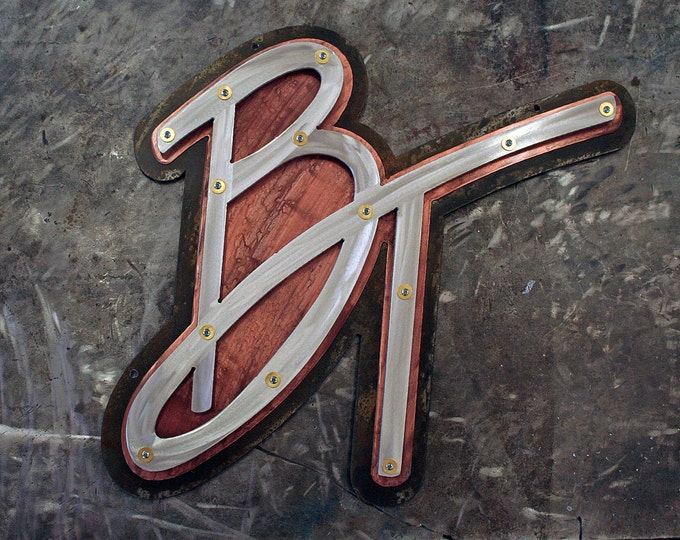 Metal Monogram Wall Sign, Custom made
