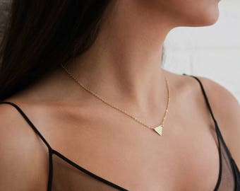 Gold Triangle Necklace • Geometric Necklace • Gift for Her • Layering Necklace, 14k Gold Fill Triangle by Valay