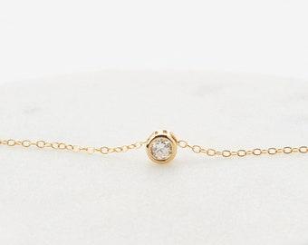 Delicate Zirconia Necklace • Tiny Diamond Pendant Necklace • Elegant CZ Necklace • Gift for Her • Everyday Necklace • Minimalist Jewelry