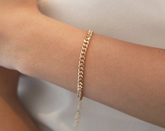 Gold Chain Bracelet • Thick 90s Gold Bracelet • Gift for Her • Layering Gold Bracelet