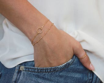 Karma Circle Bracelet • Gold Chain Bracelet • Gold Circle Bracelet • Gift for Her
