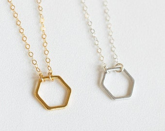 Honeycomb Jewelry • Bee Necklace • Hexagon Necklace • Geometric Necklace • Minimalist Necklace • Statement Necklace •Honeycomb • Sister Gift