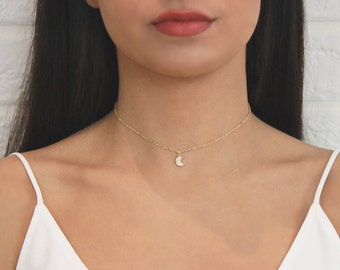 Dainty Crescent Choker Necklace • Gold Moon Necklace w CZ Stones • Crescent Layering Choker Necklace