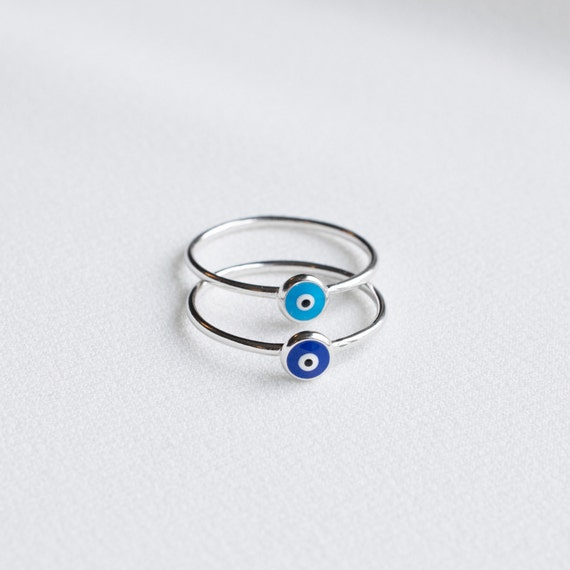 Gift for Her Silver Bands Evil Eye Ring Stackable Rings Stackable Band Rings Silver Women Rings Made in Greece.