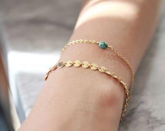 Turquoise Bead Bracelet, Minimal Gold Fill Bracelet, Delicate Stacking Bracelet, Gold & Turquoise Layering Bracelet