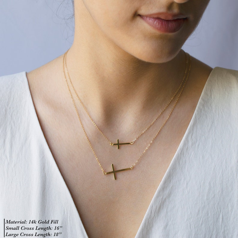Cross Necklace \u2022 Gold Cross Necklace \u2022 Cross Necklace Women \u2022 Layered Necklace \u2022 Catholic Jewelry \u2022 Statement Necklace