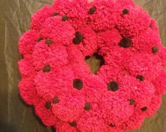 Handmade Red Pom Pom Wreath