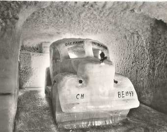 Ice Carvings, Original Vintage 1950s Real Photo  Postcard, Switzerland, Jungfraujoch (3454m) Eispalast