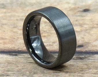 Gunmetal Brushed Tungsten Carbide Ring With Polished Inside • Men's 8mm Wedding Band • Hand Etched • Ring Box Optional (SKU: 353GUP)