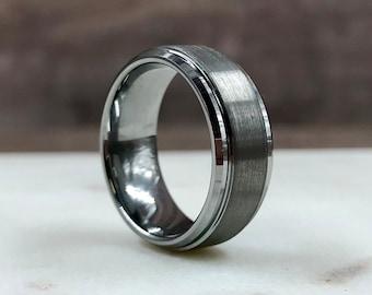 Silver Beveled Edge Brushed Ridge & Polished Tungsten Carbide Ring | Men's 8mm Wedding Band | Hand Etched | Ring Box Optional | (SKU: 027)