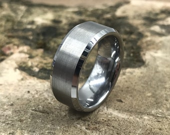 Silver Beveled Edge Brushed & Polished Tungsten Carbide Ring • Men's 8mm Wedding Band • Hand Etched • Ring Box Optional • (SKU: 008)