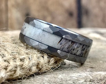 Silver Hammered Finish with Deer Antler Inlay Tungsten Carbide Ring • Men's 8mm Wedding Band • Hand Etched • (SKU: 942AN)
