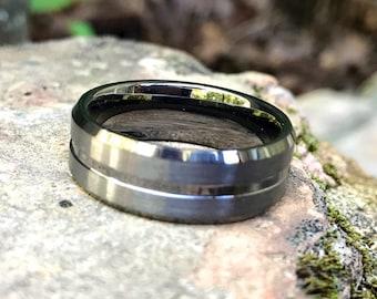 Gunmetal Beveled Center/Edge Brushed Polished Tungsten Carbide Ring • Men's 8mm Wedding Band • Hand Etched •Ring Box Optional(SKU: 350GUP)