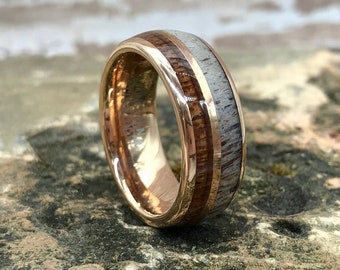 Rose Gold with Deer Antler and Wood Inlay Tungsten Carbide Ring • Men's 8mm Wedding Band • Hand Etched • (SKU: 1227AN)