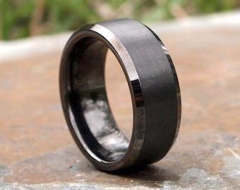 Gunmetal Beveled Edge Brushed & Polished Tungsten Carbide Ring • Men's 8mm Wedding Band • Hand Etched • Ring Box Optional • (SKU: 348GUP)