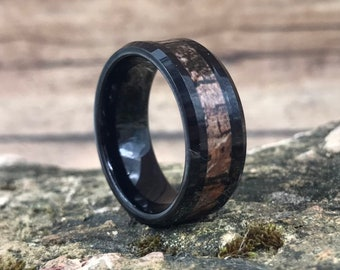 CLEARANCE Black Camo Camouflage Tungsten Carbide Ring | Men's 8mm Wedding Band Ring | Hand Etched | Ring Box Optional (SKU: 606CM)