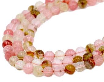 4x13-14mm Tube Shape Natural Multi Watermelon Quartz Gemstone Beads Genuine Pink Color Quartz Gemstones Loose Beads 15.5 Inches Strand #2994