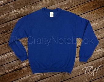 Blue Sweatshirt Mockup • Blank Unisex Sweater Mockup • Wood Background • Instant Download • Large File • jpg • Personal or Professional Use