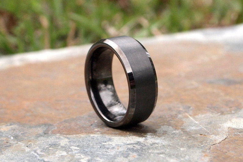 Gunmetal Beveled Edge Brushed & Polished Tungsten Carbide Ring image 1