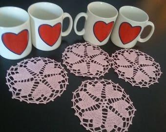 Valentine's Day Coasters,Crochet Coasters set of 4,Crochet Small Heart Doilies set of 4,Crochet Valentine's Day Gift,Crochet Table Decor