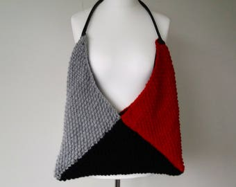 NEW  Chunky grey, deep red, black hand knitted tote / shopper / shoulder bag
