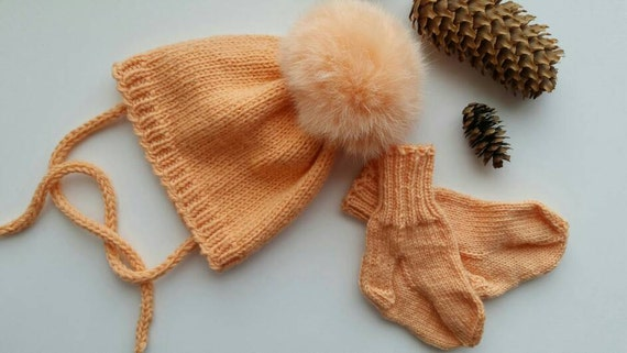 46aef0b6b3a Sale Luxury knits Baby hat socks set Baby pompom hat