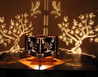 Decorative lasercut wood fig tree shadow lamp, handmade, natural, unique night light