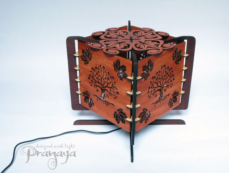 projects silhouette on the wall Decorative wood lasercut maple tree shadow lamp shadow art