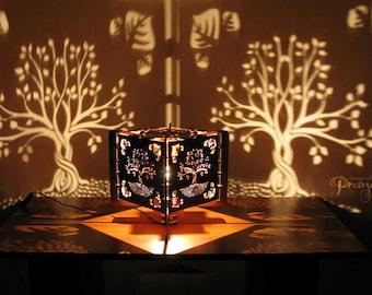 Decorative lasercut wood tree of life shadow lamp, handmade, natural, unique night light