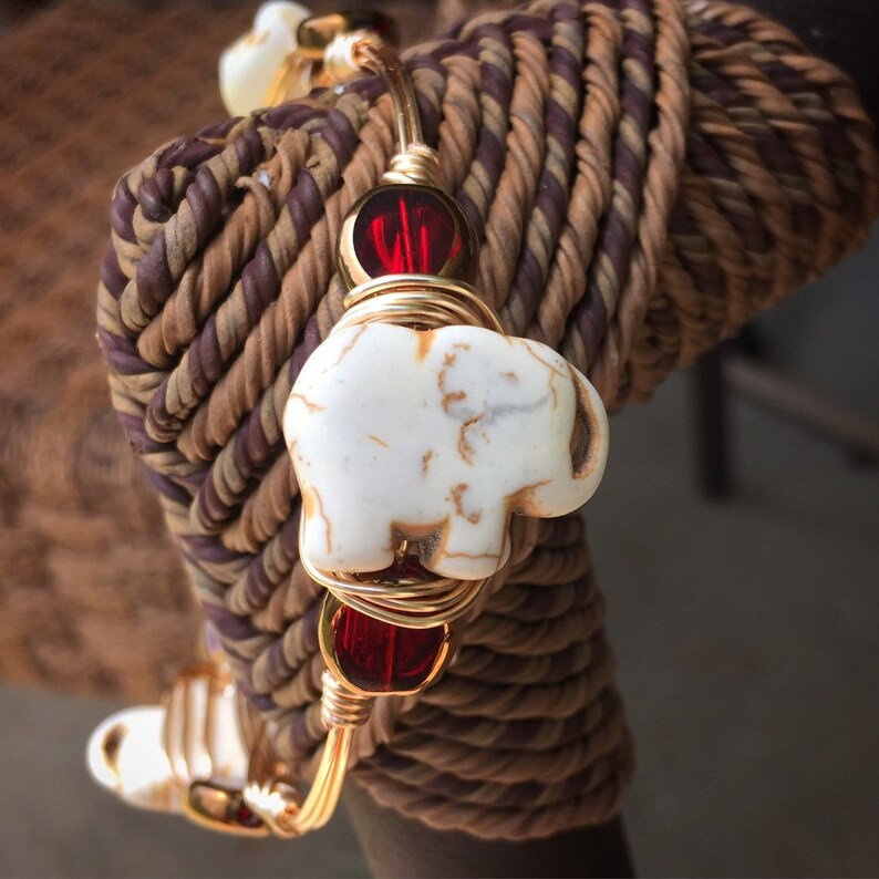 red The Bali Bangle wire wrapped on a gold bangle.Bourbon and bowties inspired style elephant bead flanked with crimson /& gold beads