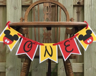 Mickey Mouse Highchair Banner Mickey Cake Smash Banner One First Birthday Mickey Banner Baby Boy 1st Birthday Red Yellow Banner Party Decor