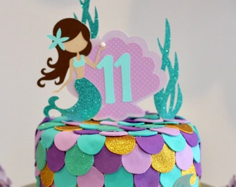 More Colors Mermaid Cake Topper Lets Be Mermaids Party