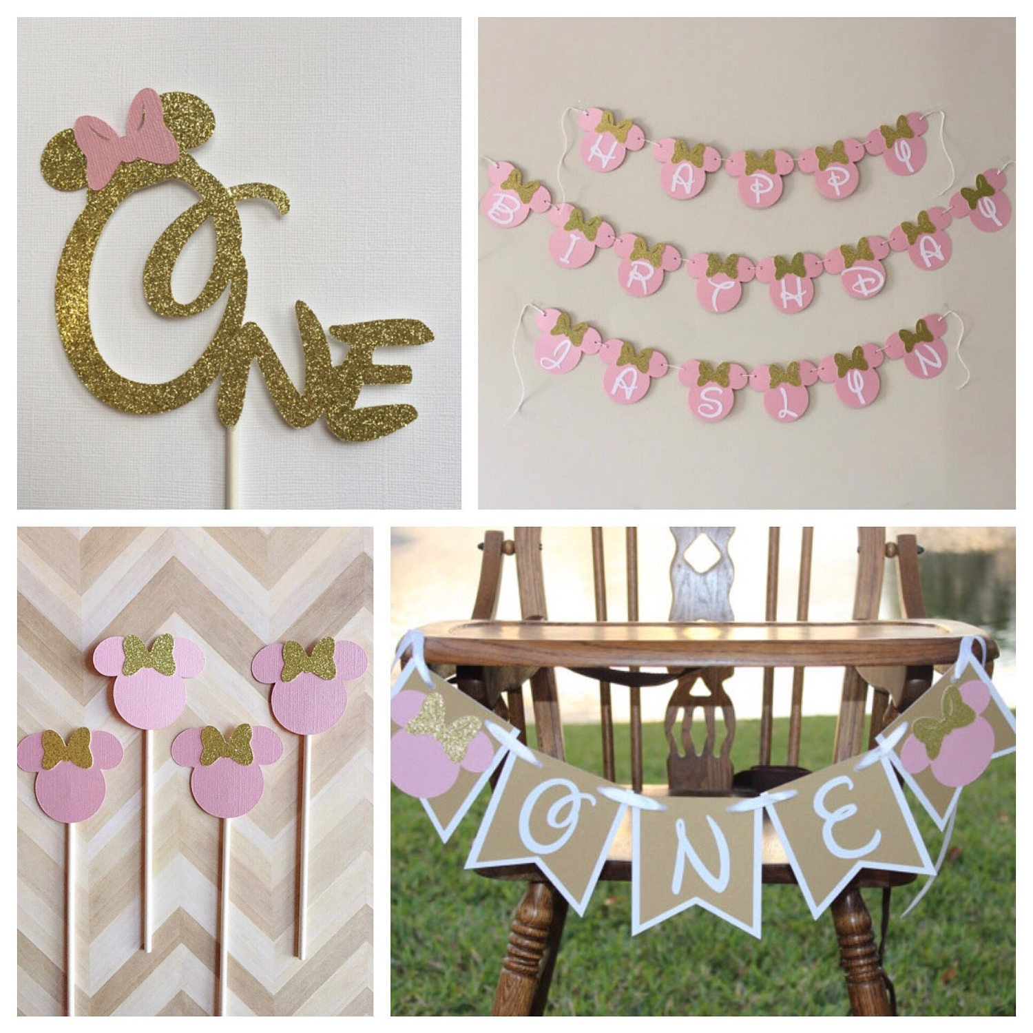 Peachy Minnie Mouse Pink Gold 1St Birthday Party Kit Minnie Cake Topper Minnie Cupcake Toppers Minnie Highchair Banner Minnie Happy Birthday Banner Best Image Libraries Sapebelowcountryjoecom