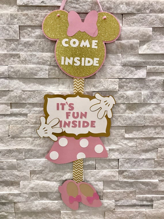 Minnie Mouse Welcome Sign Door Birthday Decor Pink And Gold Banner