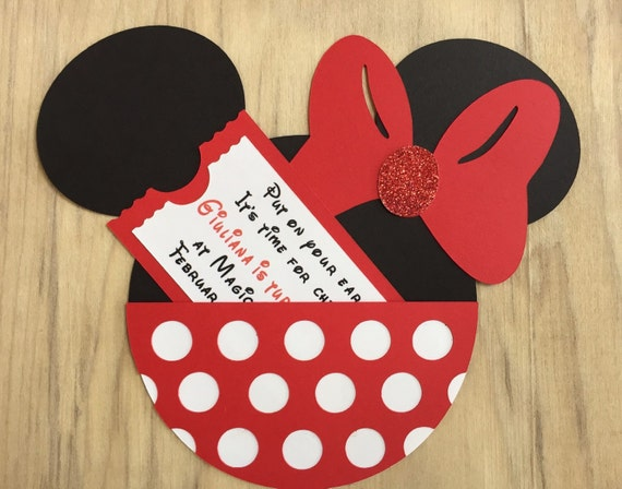 10 Minnie Mouse Birthday Party Invitations Customized Pocket