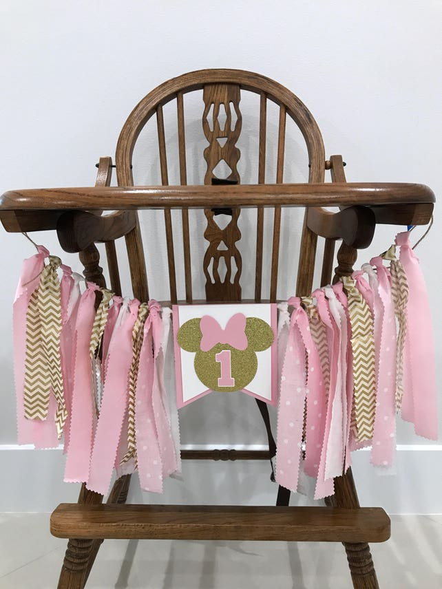 Minnie Mouse Highchair Banner Pink And Gold Birthday Decor 1st