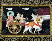 Vintage Framed Beaded Kalaga Burmese Tapestry 26 quot x 19 quot with Two Women in a cart being pulled by Oxen under glass shadowbox black frame.