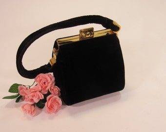 Vintage 1940's INGBER Black Velvet Evening Handbag Purse  with Velvet Handles, Gold Clasp & Frame.  Made in the USA!
