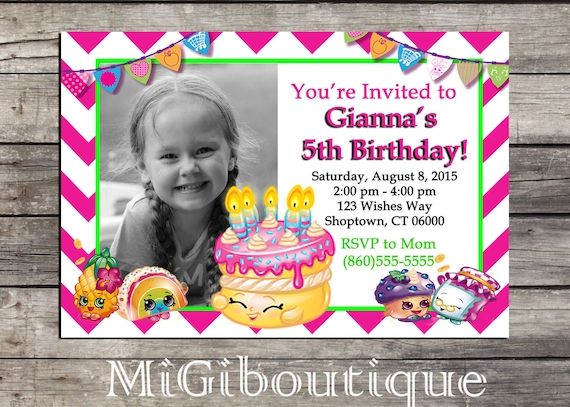 Shopkins Personalized Birthday Invitation Girls