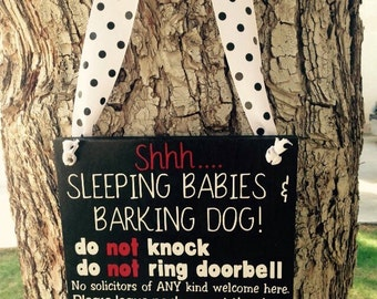"""Sleeping Babies, No Soliciting Sign, Barking Dogs, 8""""x8"""""""