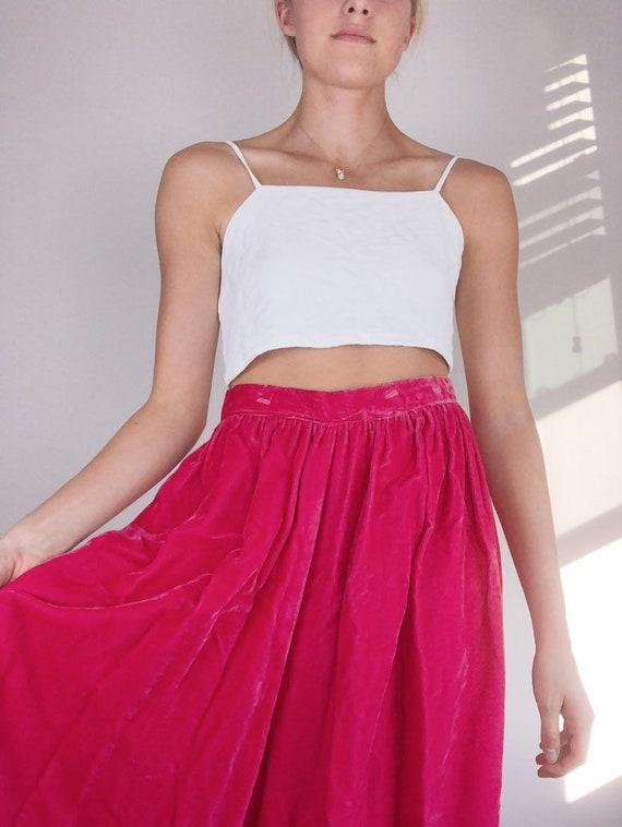 70s Pink Velvet Maxi Skirt
