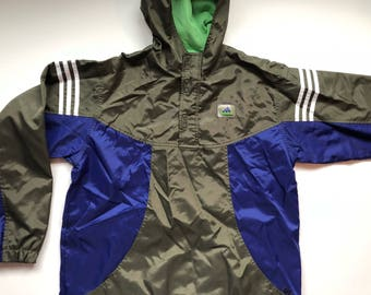 Army Green and Blue Adidas Pullover