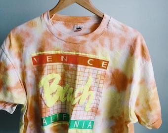 80s Venice Beach California Neon Tye Dye Tshirt