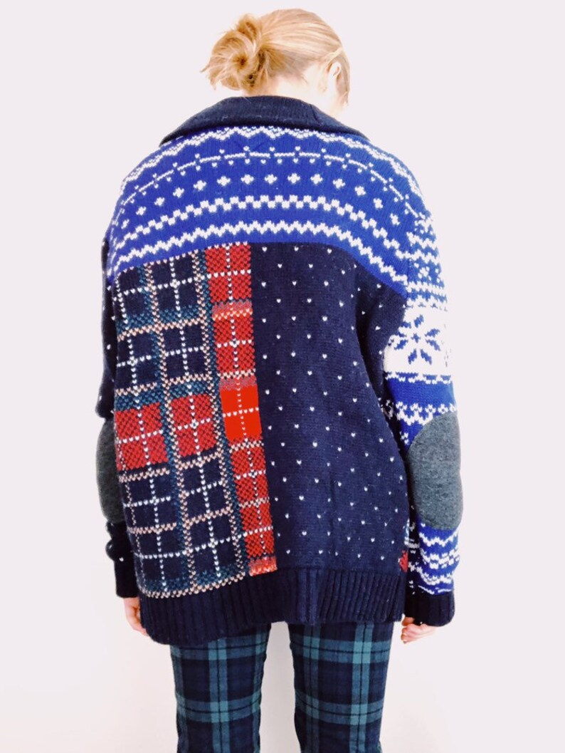 8c1614ef184bef Tommy Hilfiger Mixed Pattern Knit Cardigan | Etsy