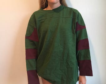 Red and Maroon Colorblock Pullover